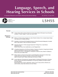 Language, Speech, and Hearing Services in Schools cover